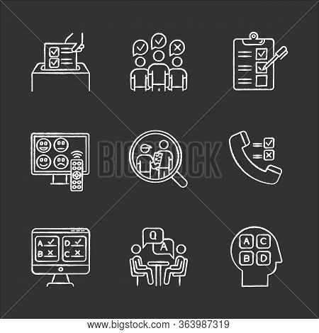 Survey Methods Chalk Icons Set. Telephone, Online Poll. Rating. Interview. Public Opinion. Customer