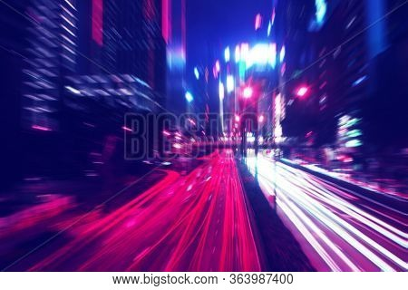 Night Time Car Trails In Hong Kong With A Zoom And Retrowave Color Effect