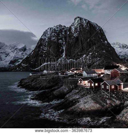 Hamnoy, Norway, fishing village on Lofoten Islands during sunset