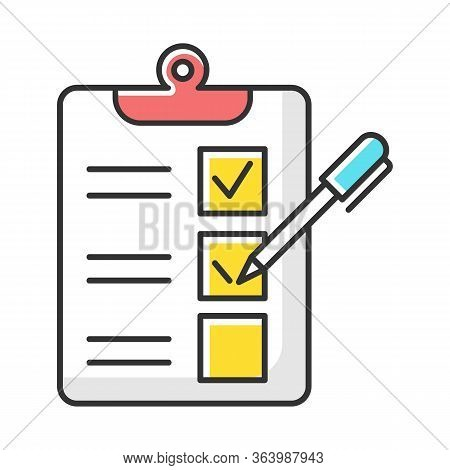 Survey Questionnaire Form Color Icon. Checklist. Customer Service Rating, Review. Feedback. Evaluati
