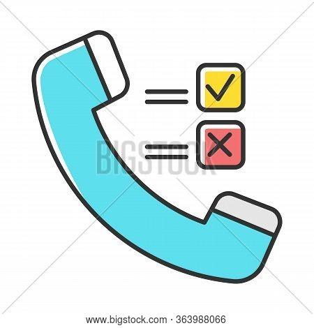 Telephone Survey Color Icon. Social Research. Opinion Poll. Consumer, Customer Satisfaction. Feedbac