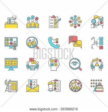 Survey Methods Color Icons Set. Interview. Online, Telephone Poll. Rating. Public Opinion. Customer