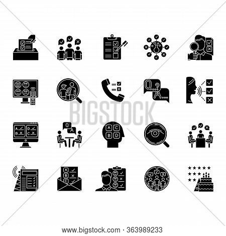 Survey Methods Glyph Icons Set. Interview. Online, Telephone Poll. Rating. Public Opinion. Customer
