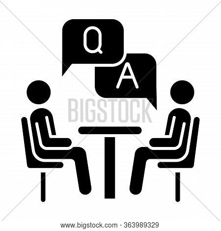 Personal Interview Survey Glyph Icon. Questions And Answers Poll. Social Research. Customer Satisfac