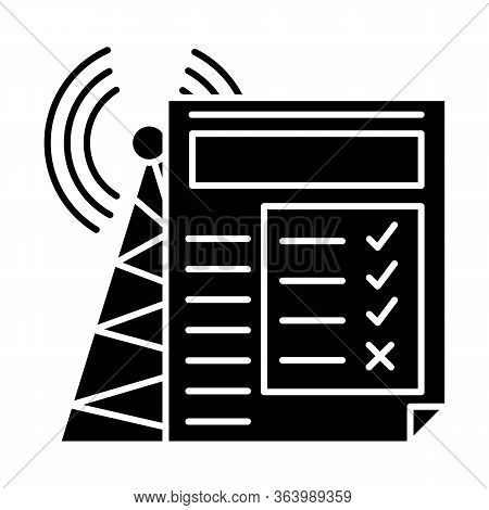 Service Quality Survey Glyph Icon. Internet Connection Poll. Research. Consumer Review. Customer Sat