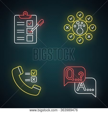 Survey Methods Neon Light Icons Set. Telephone Poll. Chemical Analysis. Questionnaire. Interview. Pu
