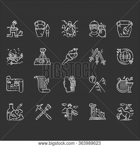 Archeology Chalk Icons Set. Researcher On Excavation. Ancient Artifacts. Prehistoric Life. Lost Citi