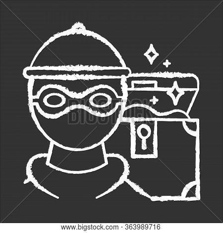 Marauding Chalk Icon. Treasure Hunter. Artifact Robbery. Criminal In Mask. Chest With Gold. Muggery,