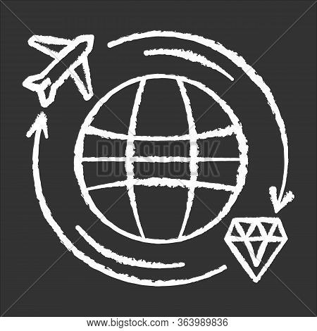 Treasure Hunt Chalk Icon. Worldwide Search For Ancient Artifacts. Discover Jewels. Travel To Explore