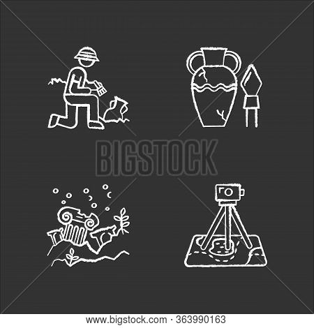 Archeology Chalk Icons Set. Excavation And Research. Ancient Artifact. Amphora And Spear. Lost Citie