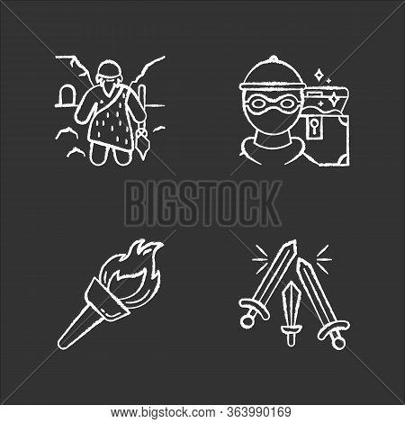 Archeology Chalk Icons Set. Prehistoric Man. Caveman. Marauding. Treasure Hunt. Robbery. Flambeau. F