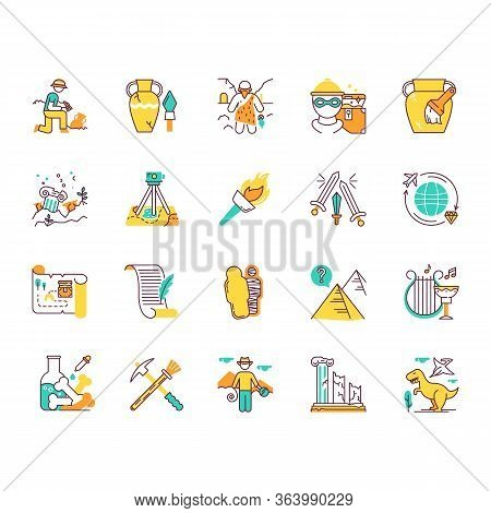 Archeology Color Icons Set. Researcher On Excavation. Ancient Artifacts. Prehistoric Life. Lost Citi