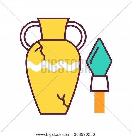 Ancient Artifacts Color Icon. Greek Amphora. Roman Spear. Old Culture. Historical Discovery. Cracked