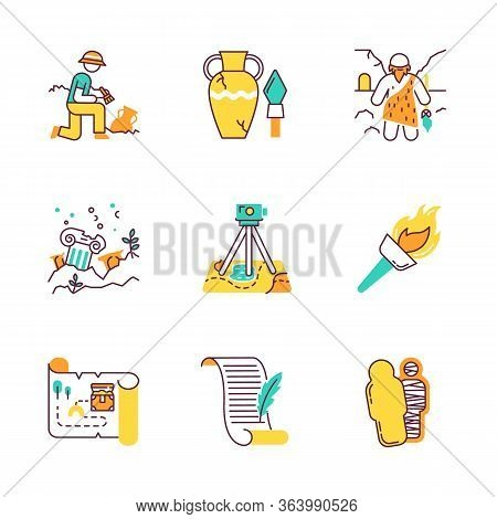 Archeology Color Icons Set. Excavation And Research. Archeologist. Ancient Artifacts. Caveman With B