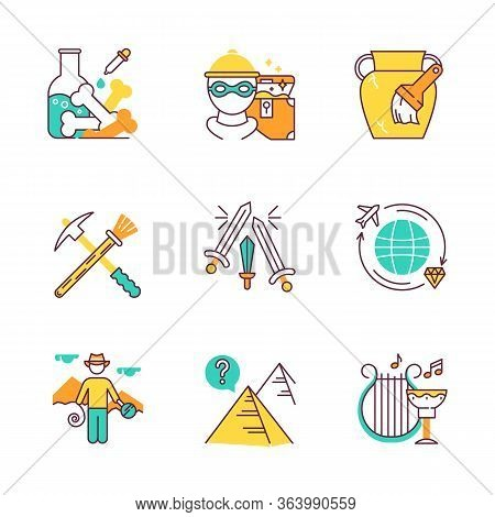 Archeology Color Icons Set. Lab Research. Marauding. Artifact Restoration Equipment. Sword Fight. Tr