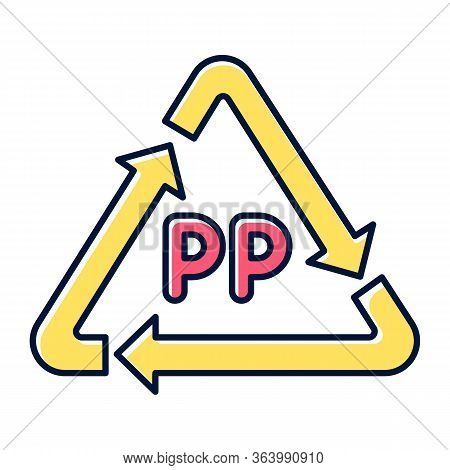 Pp Yellow Symbol Color Icon. Thermoplastic Polymer Marking. Resin Identification Code. Recycling Pla
