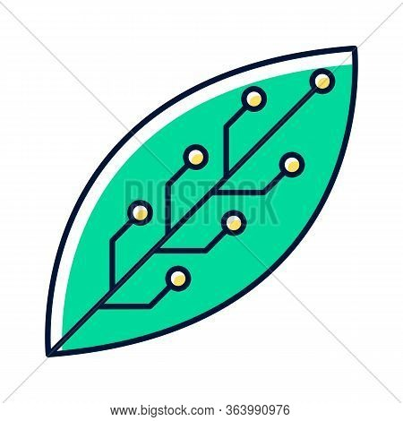 Green Leaf With Microchip Color Icon. Smart Agriculture. Green Information Technology. Organic Chemi