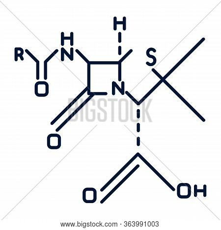 Chemical Molecular Formula Black Color Icon. Bonding Arrangement Of Atoms Within Molecules. Organic