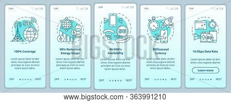 5g Technologies Onboarding Mobile App Page Screen Vector Template. 100 Coverage. Walkthrough Website