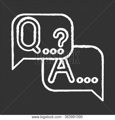 Q A Survey Chalk Icon. Social Research. Questions And Answers Poll. Consumer, Customer Satisfaction.