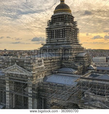 Brussels, Belgium, October 28, 2019 - Aerial view of the Brussels Palace of Justice or Court of Laws being renovated.