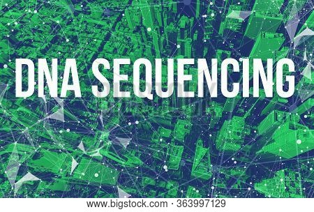 Dna Sequencing Theme With Abstract Network Patterns And Manhattan Ny Skyscrapers