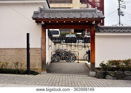 Kyoto, Jp - April 10 - Fushimi Inari Taisha Sanshuden Parking Space On April 10, 2017 In Kyoto, Japa