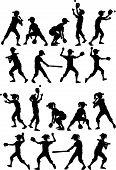 Baseball or Softball  Players Silhouettes of Kids - Boys and Girls poster