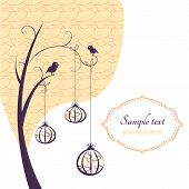 Abstract background tree with birds and hanging pumpkins(ornaments) with pattern. poster