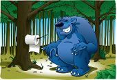 A comical look at the old adage about where or not bears do in fact in the woods. Complete with toilet paper. Bear is on separate layer. poster