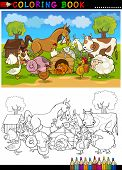 Coloring Book or Page Cartoon Illustration of Funny Farm and Livestock Animals for Children Education poster