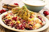persian albaloo polo with sour cherries and chicken poster