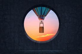 Round Concrete Window With View Of A Hot Air Balloon Flying . This Is A 3d Render Illustration .