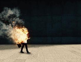 Burning Businessman Going To Work . Life Insurance Concept . Work Assurance . Careless Worker Going