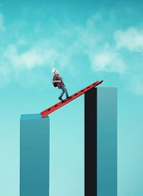 Young Man Walk On A Ladder Between Two Cubes . Path To Success And Risk Taking . Overcoming Obstacle