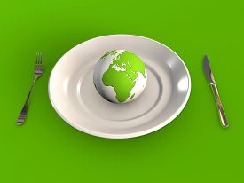 Food Industry And Planet Earth 3d Rendered Concept
