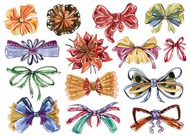 Watercolor Bows Set In Different Colors And Styles. Isolated On White Background. Hand Drawn Illustr
