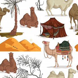 Seamless Pattern With Camels In Different Poses, Sand Dune Of Desert, Nomad Tent, Dried And Palm Tre
