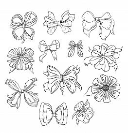 Fashion Bows Set In Different Styles. Isolated On White Background. Black And White Hand Drawn Vecto