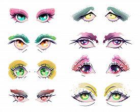 Cartoon Anime Eyes Set. Manga Kawaii Eyes With Different Colors, Expressions And Grunge Eyeshadows,