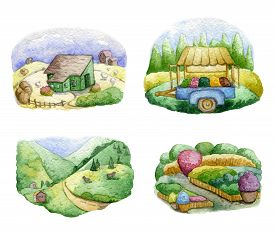 Old Farms And Rural Landscapes Set. Fields, Houses, Gardens, Trees, Trailer, Domestic Animals. Organ
