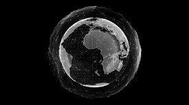 Communication Technology Global World Network Concept. Connection Lines Around Earth Globe, Motion O