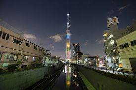 Tokyo, Japan - Mar 16, 2019: View Of Tokyo Skytree At Night. It Is A Broadcasting And Observation To