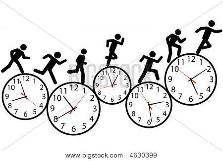 Symbol People Run A Race In Time On Clocks