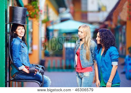 Happy Female Tourists Having Fun In The City