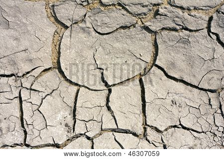 Parched land. cracks in the earth