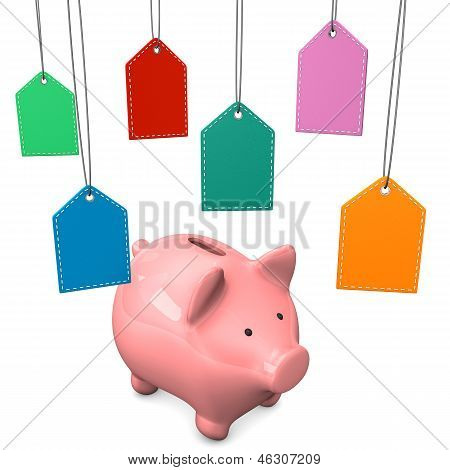 Piggy bank with colorful shopmarks on the white background. poster