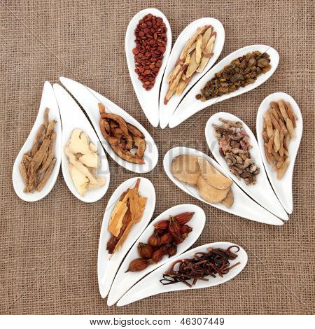 Chinese herbal medicine in white porcelain dishes over hessian background. poster
