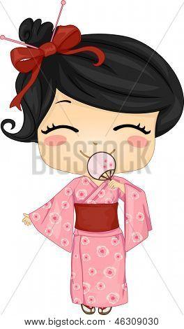 Illustration der niedliche kleine japanische Mädchen traditionsbewusstes Kostüm zu tragen