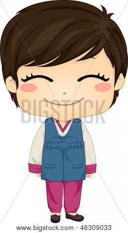 Abbildung von niedlich kleinen koreanischen jungen traditionsbewusstes Kostüm zu tragen
